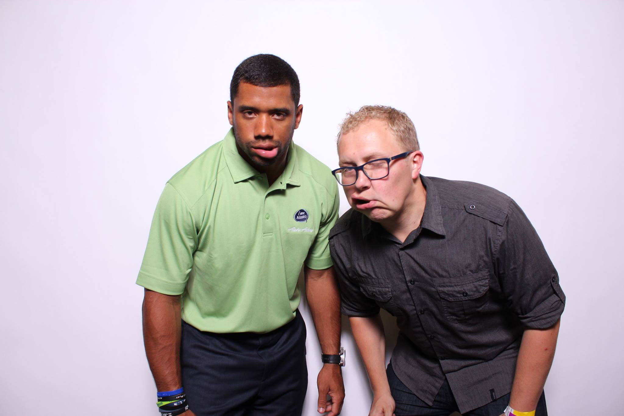 Shake face Russell Wilson photo booth