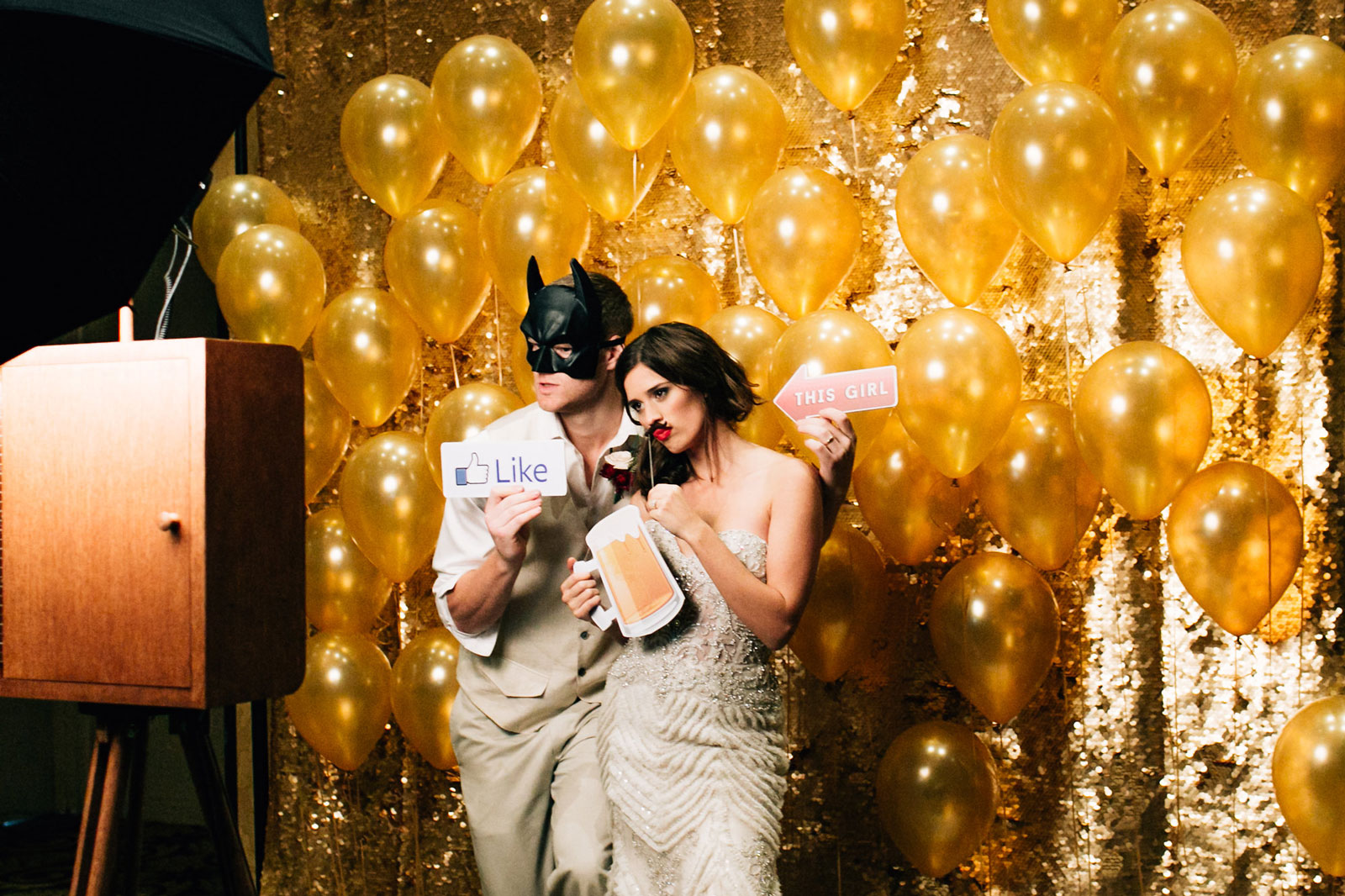 Open photo booth gold backdrop