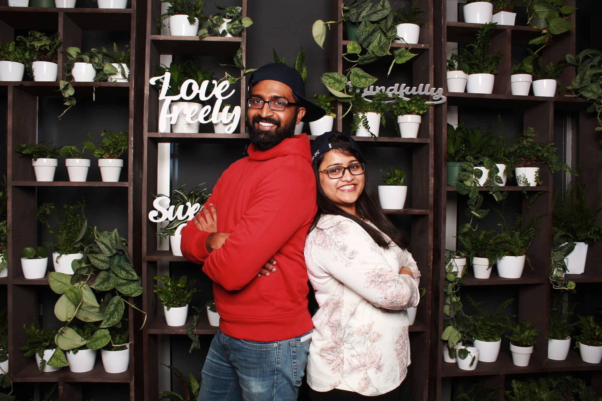 Lululemon Seattle photo booth floral backdrop