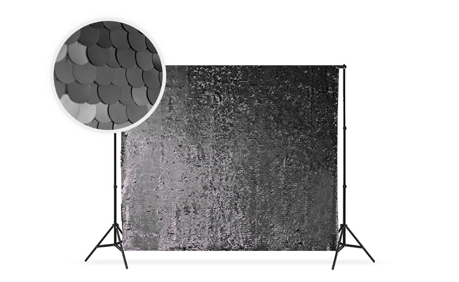 Black photo booth backdrop for Halloween