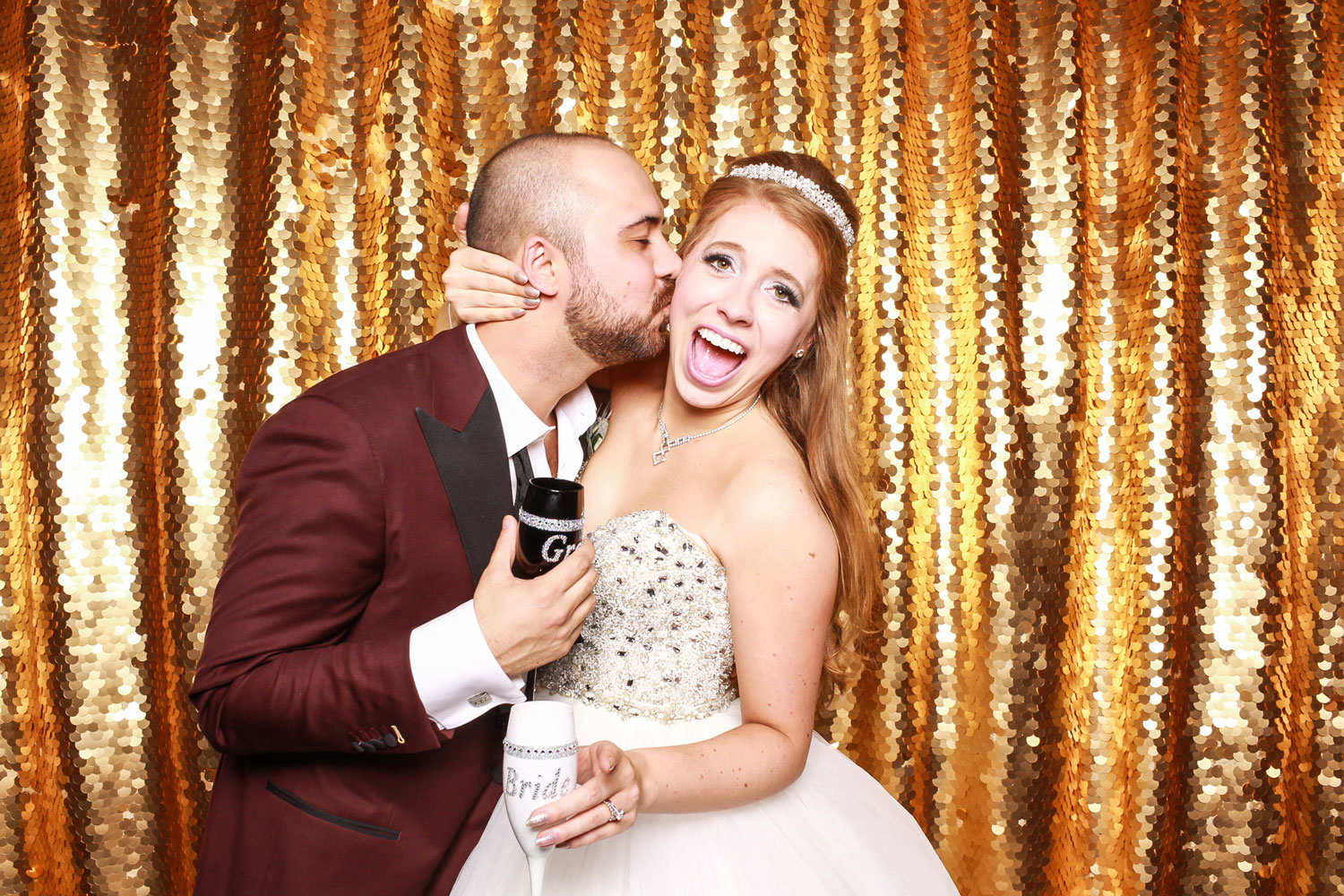 Gold sequin backdrop wedding photo booth