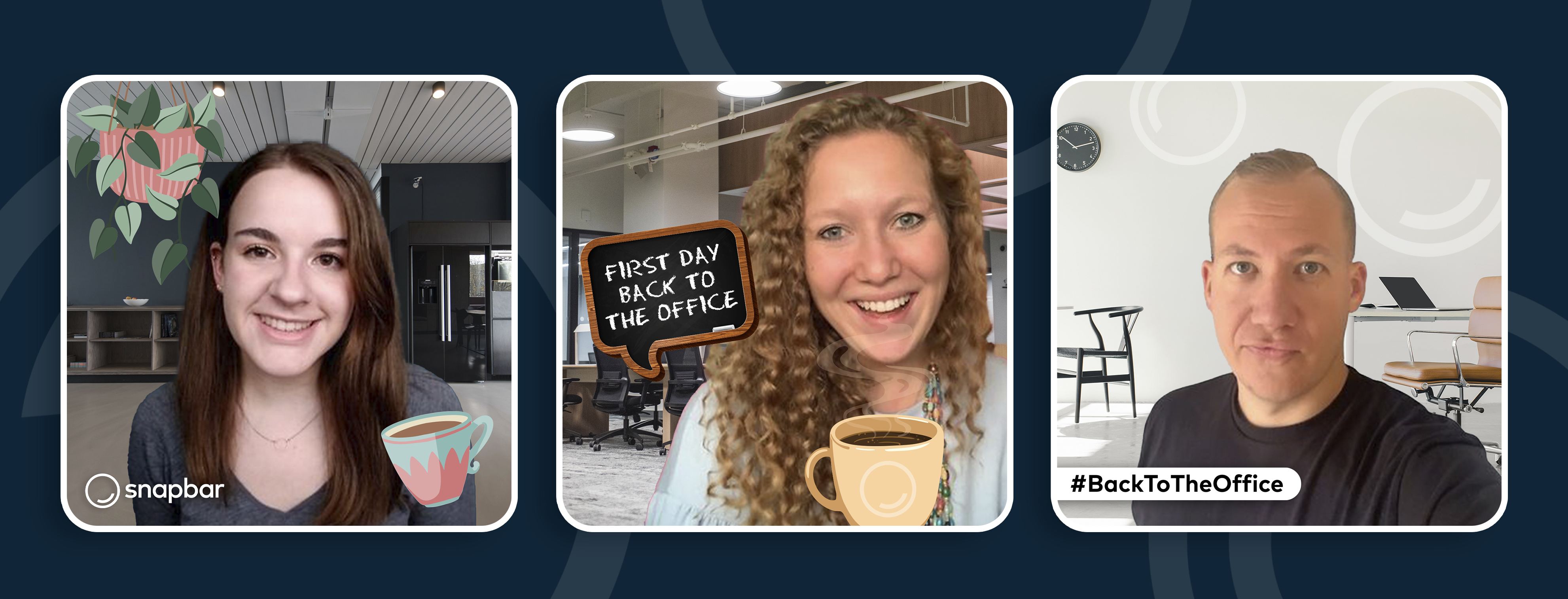 A trio of employees taking back-to-office selfies using Virtual Photo Booth