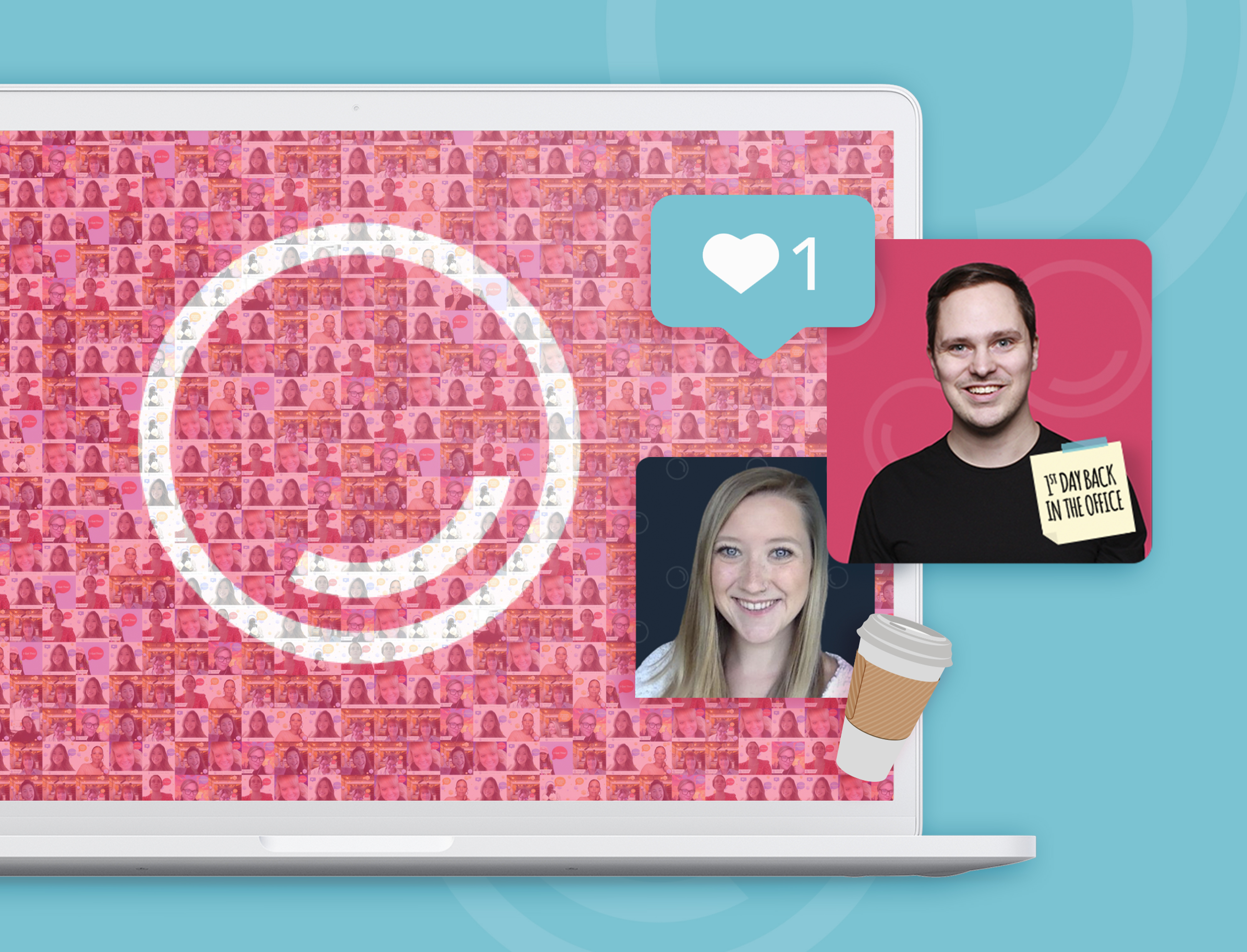 A laptop with a virtual photo mosaic background with branded back-to-office selfies of employees smiling