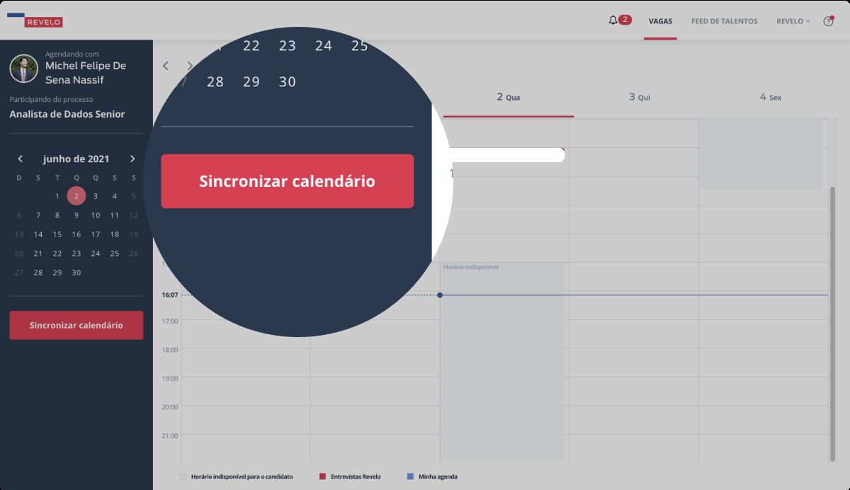 Imagem com destaque ao botão Sincronizar calendário