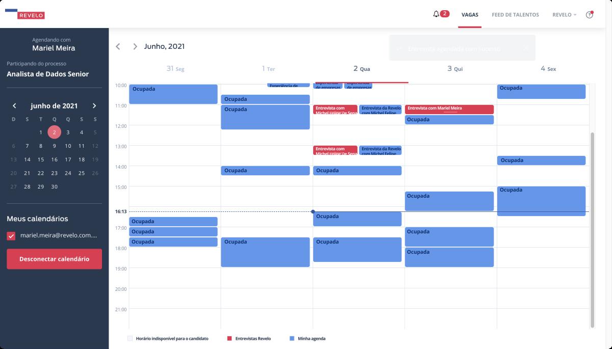 Um exemplo de como o calendário aparece após a sincronização