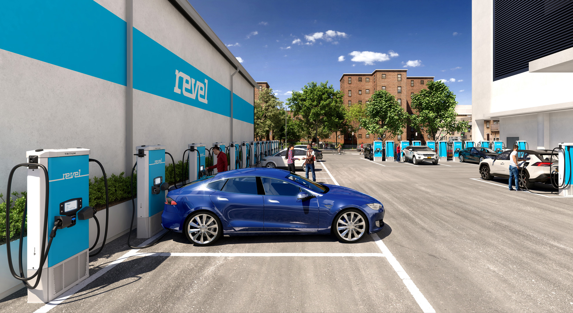 Photo of a parking lot with a number of Revel electric car fast-chargers