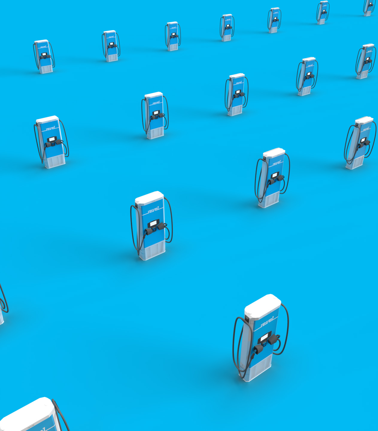 image of a large number of revel fast-chargers on a blue background