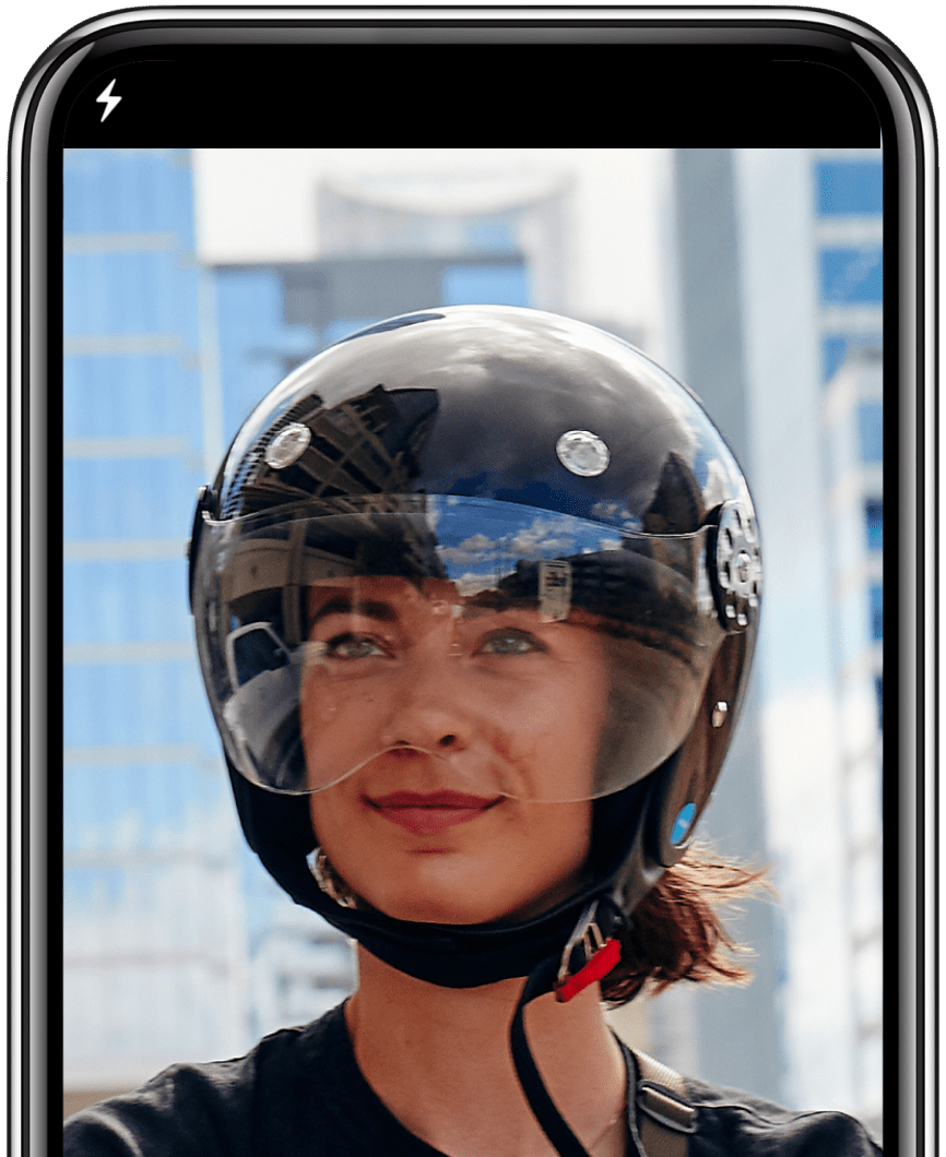 screenshot of a revel helmet selfie on an iphone