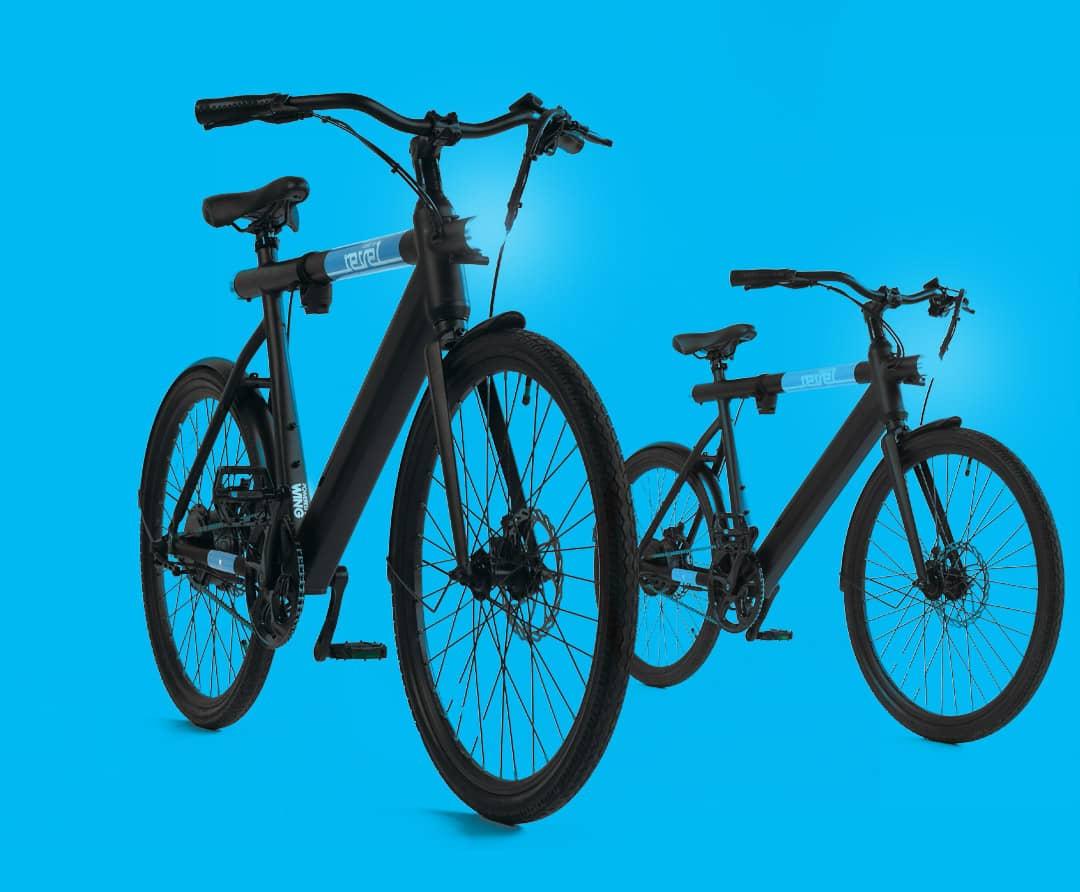 2 revel ebikes on blue background