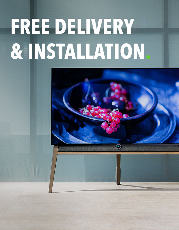 A media message lets the customer know that he'll get free delivery and installation as a benefit of the purchase