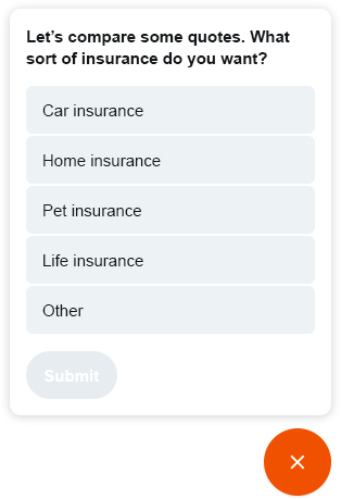 Upon visiting the website, Digital Assistant follows-up the ad by offering to help the user find the right insurance deal.