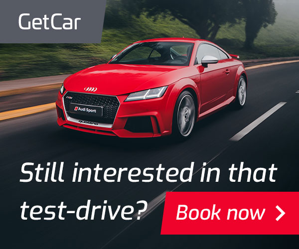 A static retargeting ad asks a user if they are still interested in a test-drive of a car.