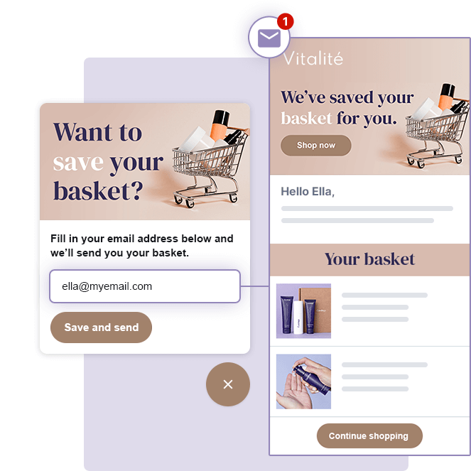 Customers can use Digital Assistant to save and send their basket via email to their inbox.