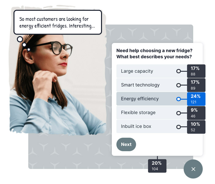 Ve's Digital Assistant being used to find customer preferences