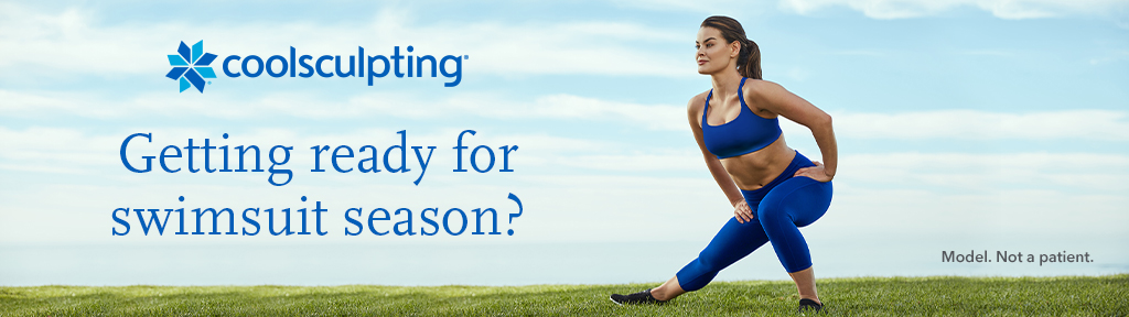 Woman in athletic where stretching on a field with a CoolSculpting logo