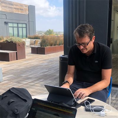 Mark Curphey working remotely