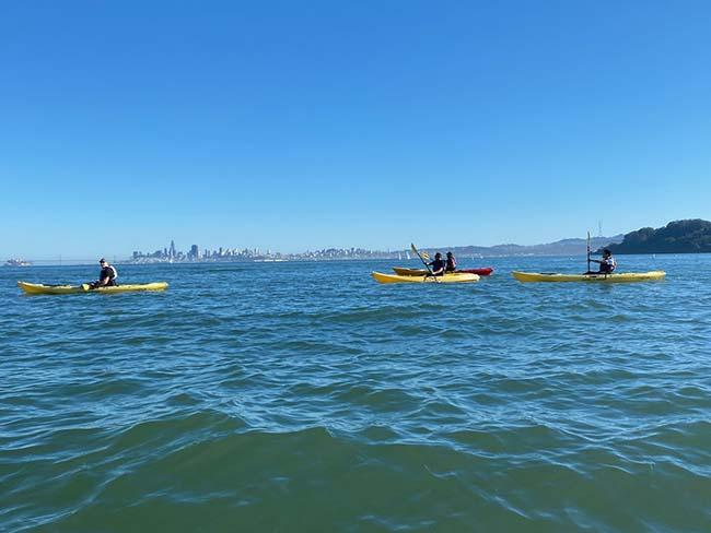 Team kayaking across open water