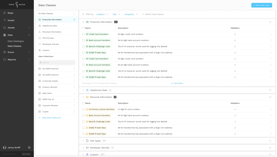 Screenshot of Open Raven product showing data classes