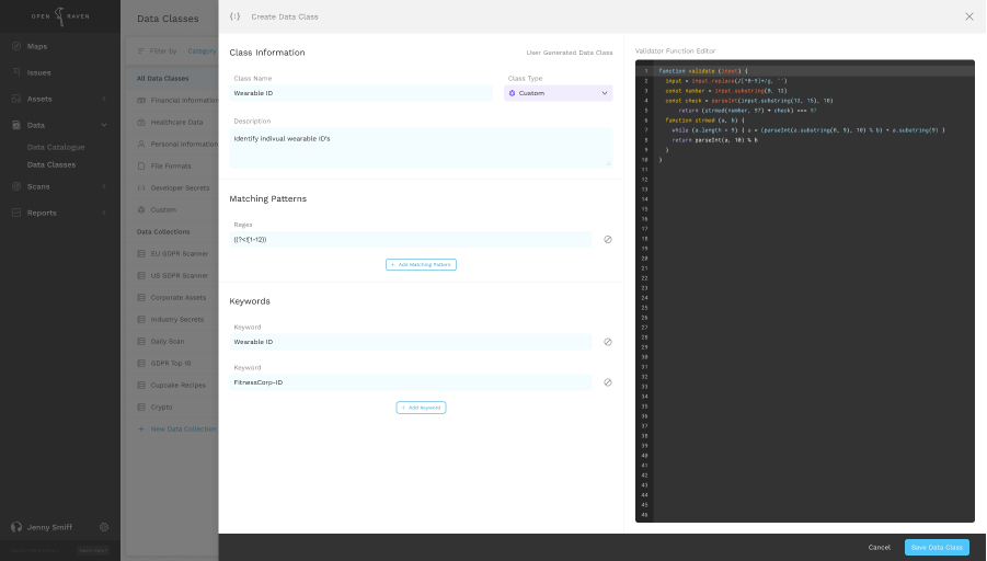 Creating a data class inside Open Raven