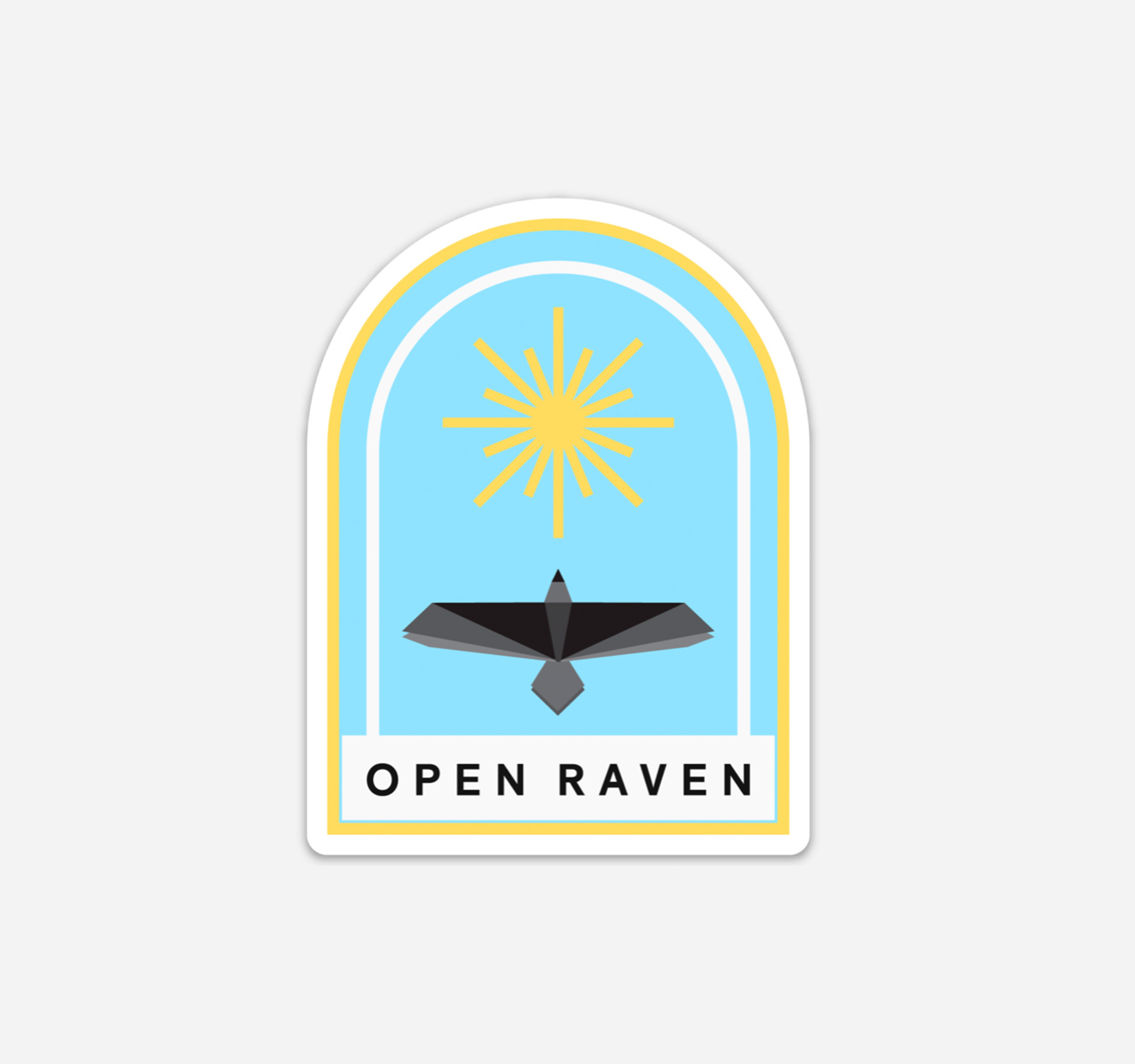 Open Raven sticker with a blue background and a raven flying towards the sun