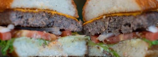Hopdoddy burger split in half
