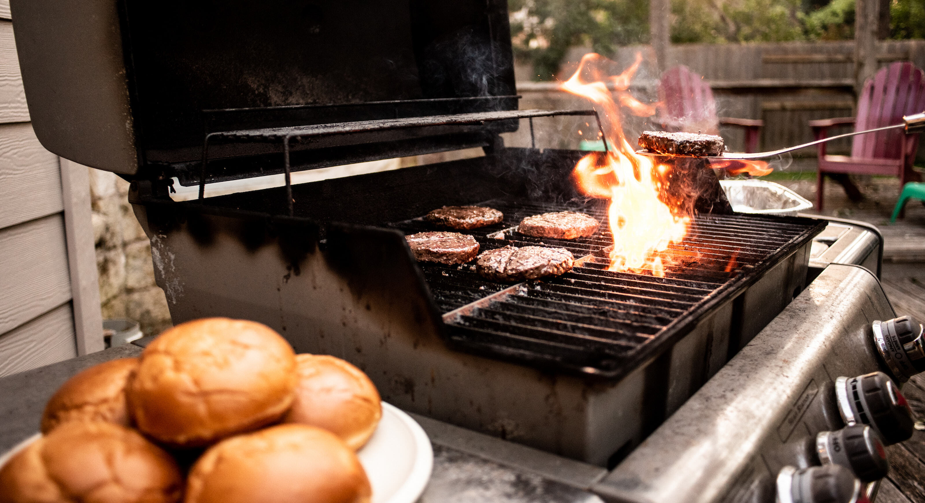 Burgers grilling.