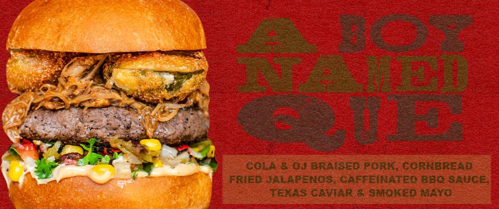 Beef patty topped with coke & oj braised pork, fried jalapenos, caffeinated bbq sauce, roasted corn salsa & smoked mayo