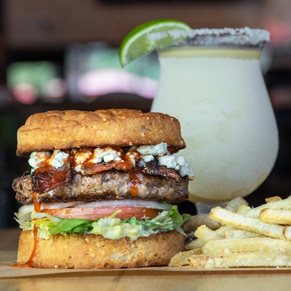 Buffalo bill burger with a margarita.