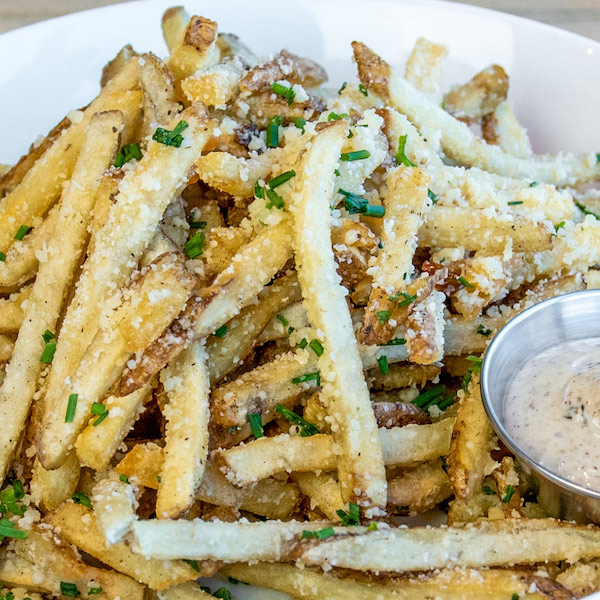 French fries with parmesan cheese.