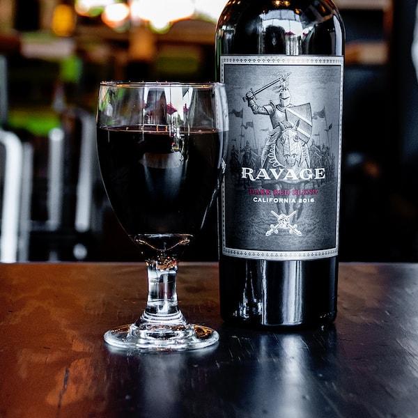 Bottle of Ravage wine.