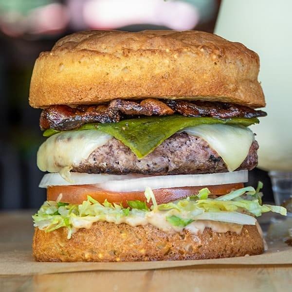Gluten free Llano Poblano burger.