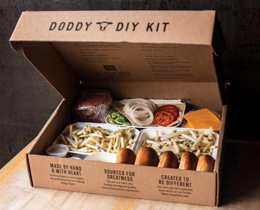 Hopdoddy burger meal kit.
