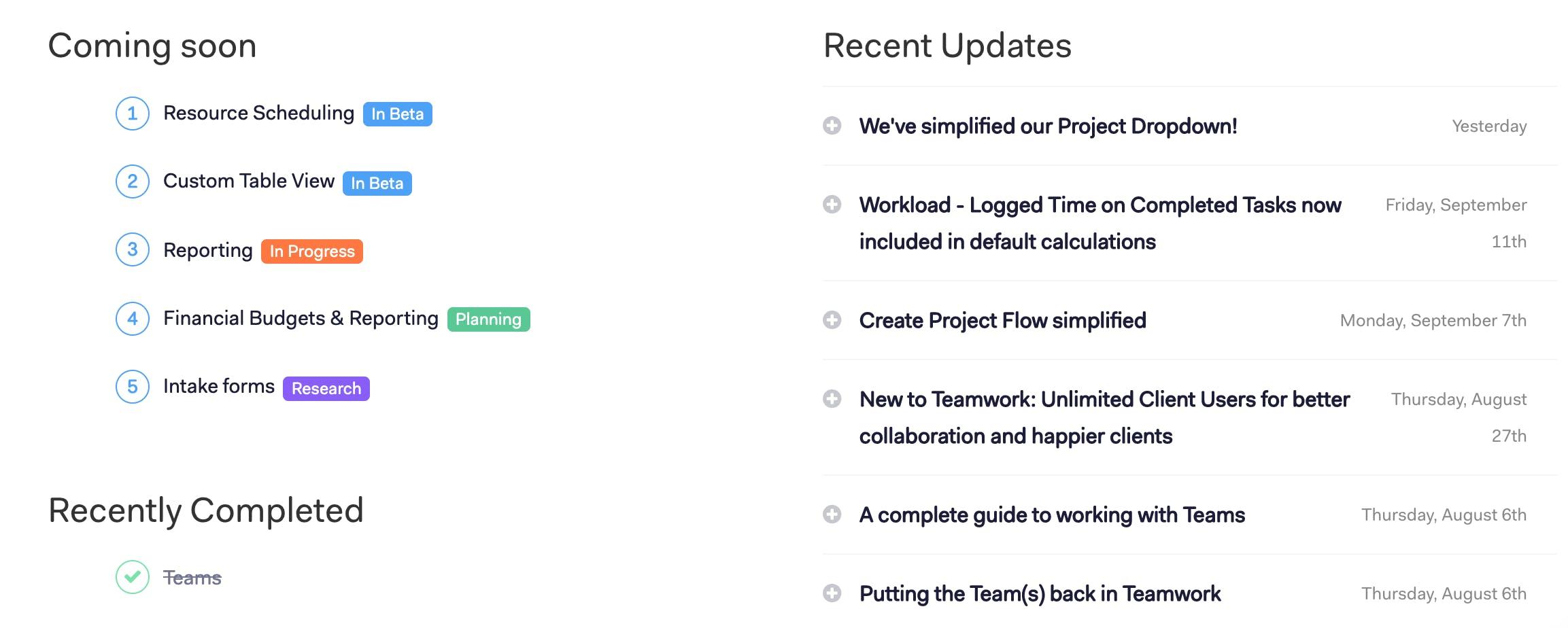 Teamwork release notes screenshot