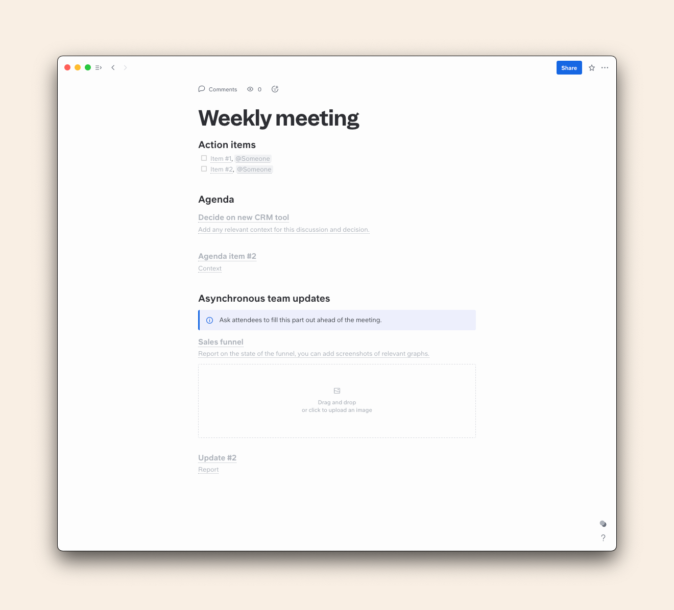 template of a weekly meeting report