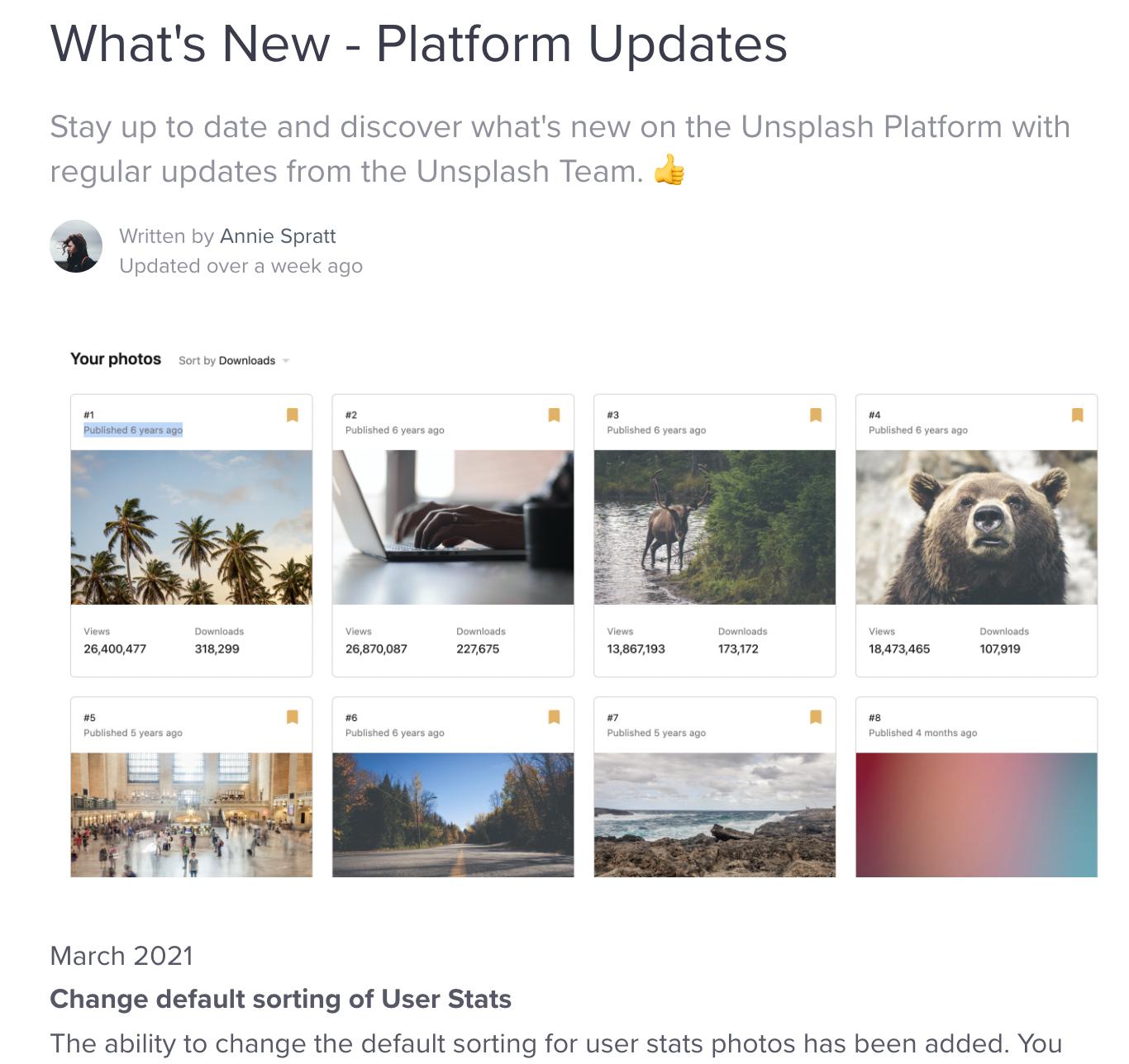 Unsplash Product Updates