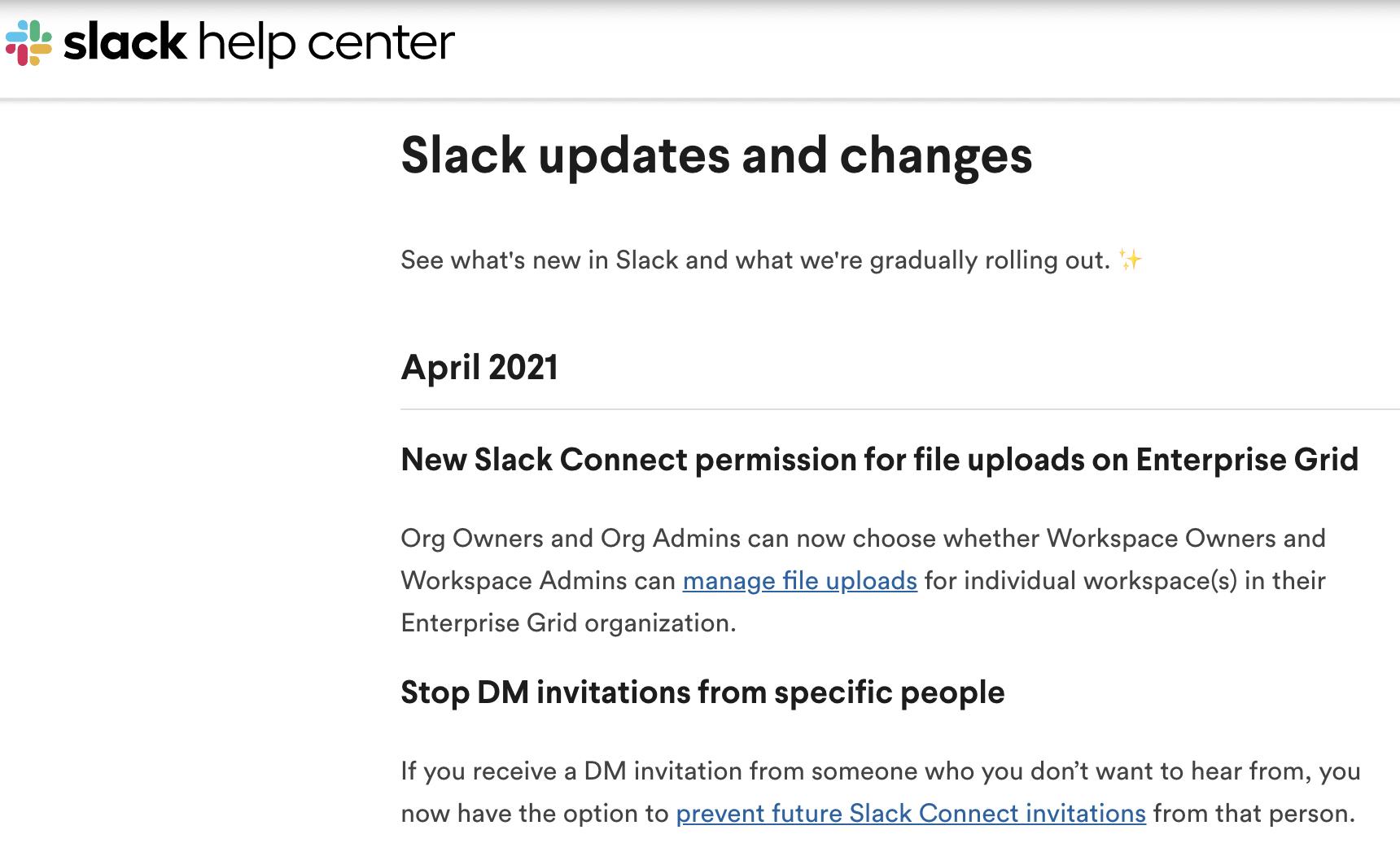 Slack updates and changes