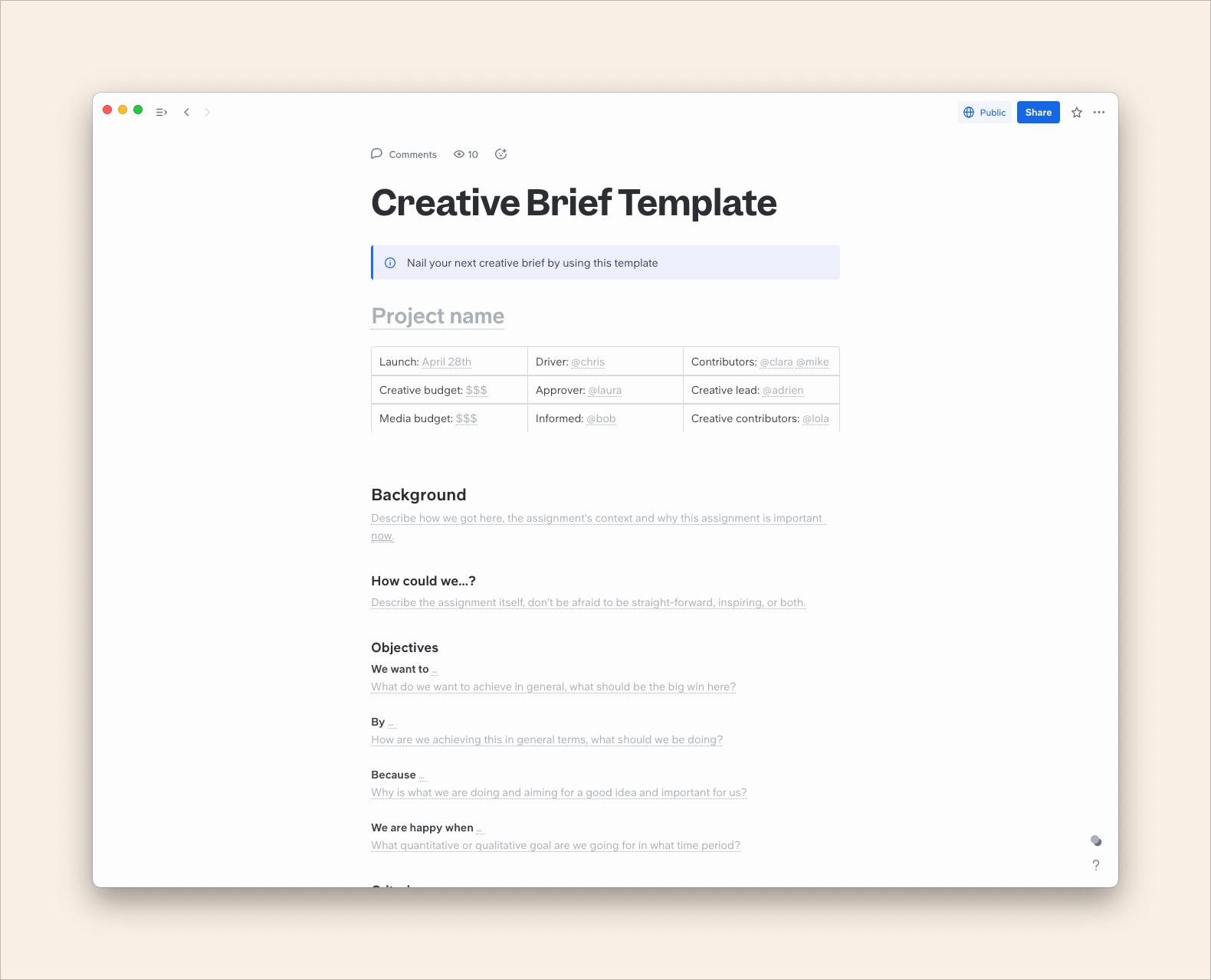 Creative Brief Template