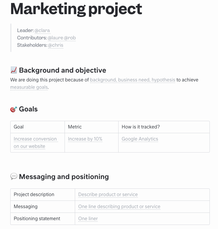 Free Marketing Project Template to Use