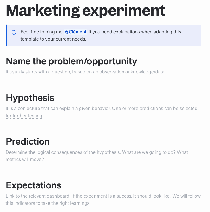 Free Marketing Experiment Template to Use