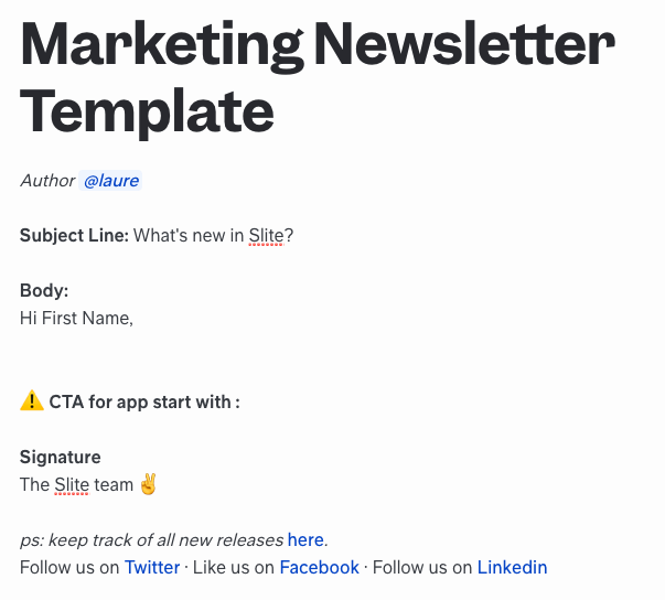 Marketing Template for Newsletters