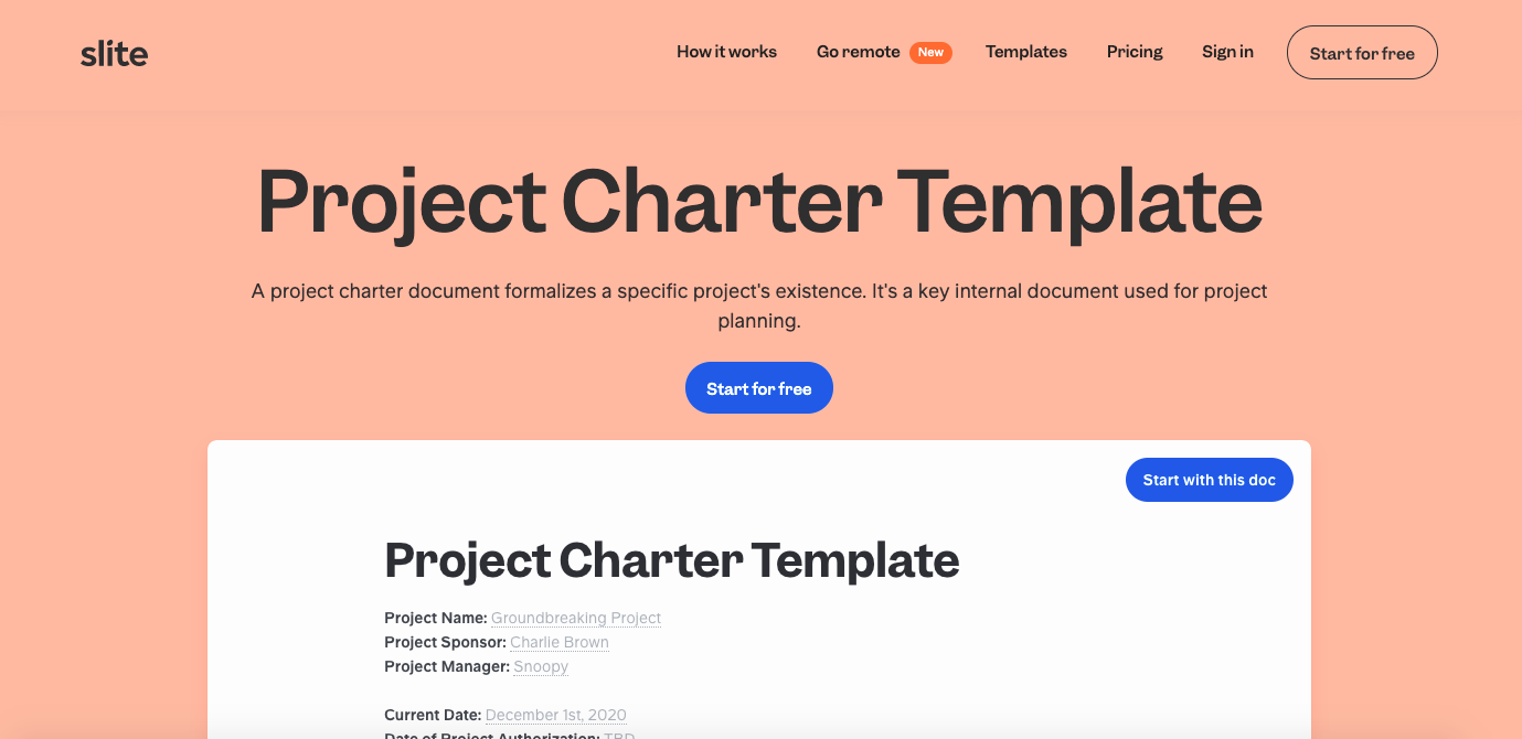 Project charter template example in Slite