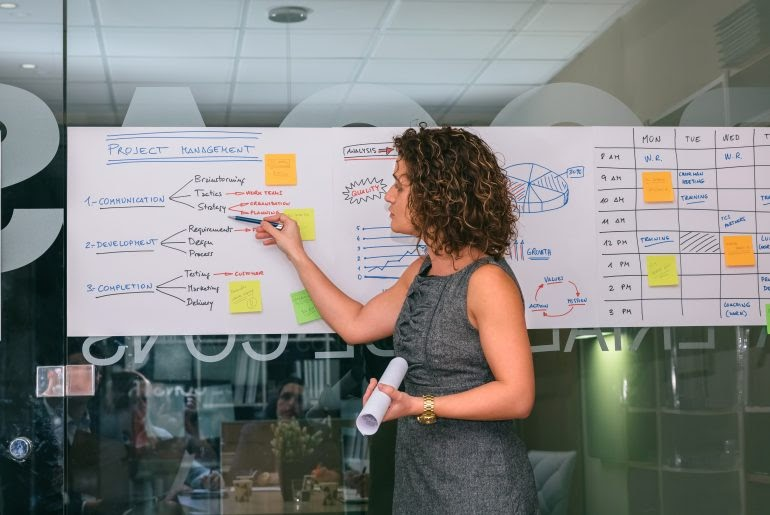 Woman explaining project management on a white paper