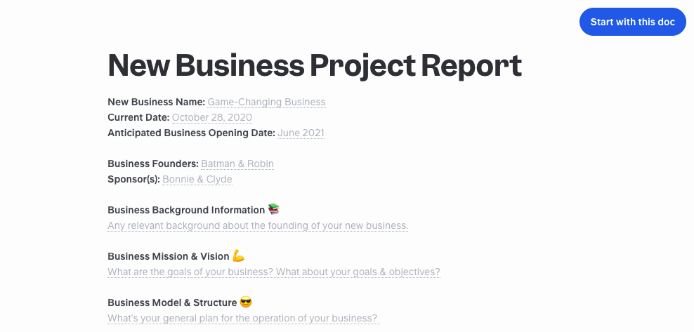 New business project report template