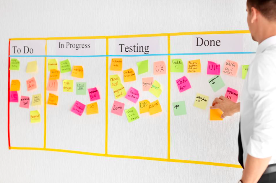 Picture of a man working on a kanban board