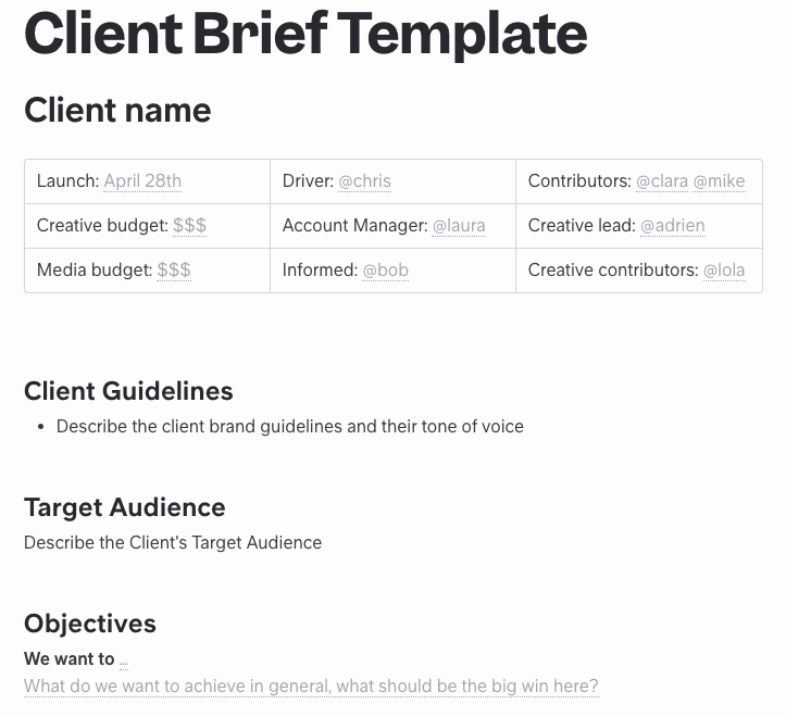 Client Brief Template for Agency