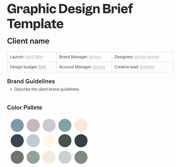 Graphic Design Brief Template