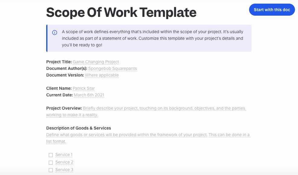 Slite's free scope of work template