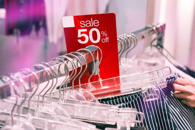 sale rack at clothing store