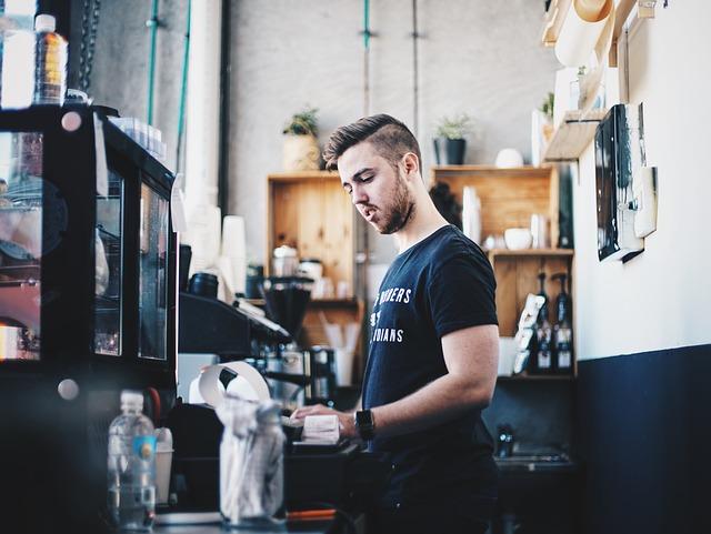man at cash register