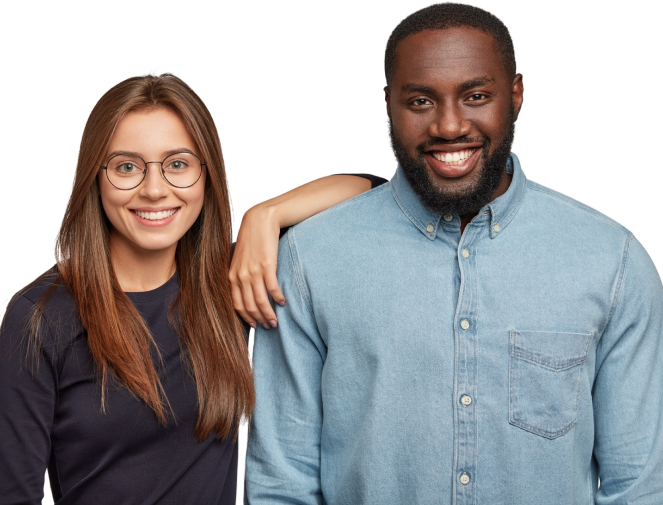 Female and male employee casually smile